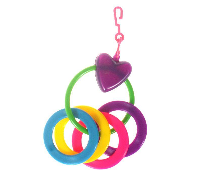 Vogelspielzeug Herz mit 4 Ringen
