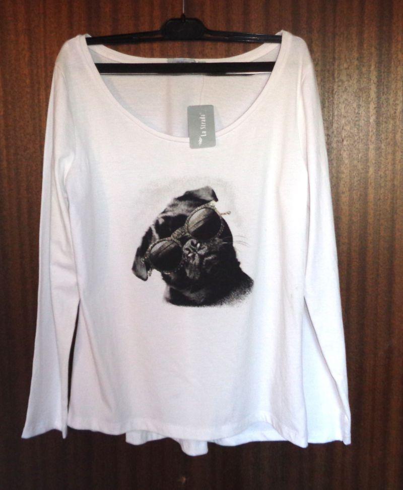 Damen T-Shirt cooler Mops mit Sonnenbrille